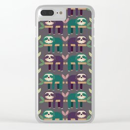 Sloth pattern Clear iPhone Case