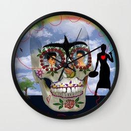 LAS DOS FRIDAS skull Wall Clock