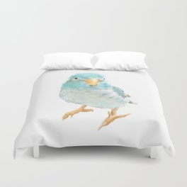 Blue Turquoise Love Bird Print Duvet Cover