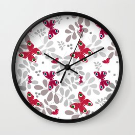 Butterflies on a background of gray leaves. Retro . Wall Clock