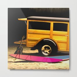 Classic Woody, Surf Boards, and Guitar Metal Print