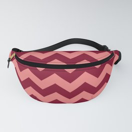 Coral Pink and Burgundy Red Horizontal Zigzags Fanny Pack