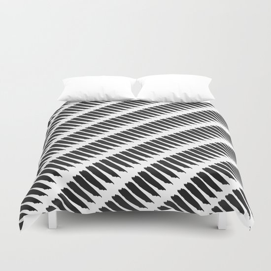 Black and white tiger stripes duvet cover by pencil me in - Tiger stripes black and white ...