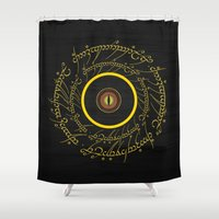 gondor Shower Curtains featuring Lord Of The Ring - Sauron Eye by Raisya