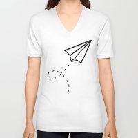 plane V-neck T-shirts featuring Paper Plane by Leah Flores
