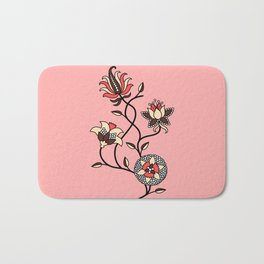 Whimsical illustrated Indian floral pink Bath Mat