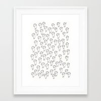 stickers Framed Art Prints featuring cat stickers by Ayumi Akashi