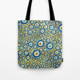 Greek Blue Glass Evil Eye Amulet Pattern Tote Bag
