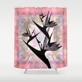 Vintage Subtly Surreal Bird of Paradise Silhouette Print Shower Curtain