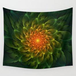 Beautiful Orange-Green Desert BarrelCactus Spiral Wall Tapestry