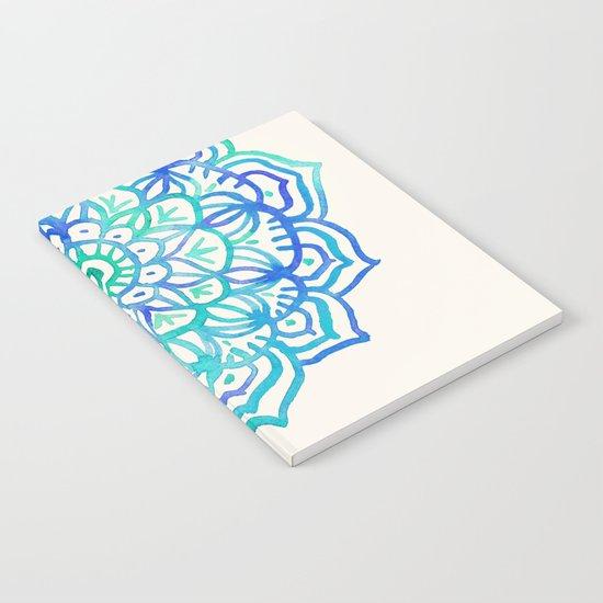 Watercolor Medallion in Ocean Colors Notebook