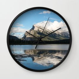 Reflections on the water; Vermillion Lakes, Banff Alberta Canada Wall Clock