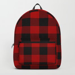 Red and black squares plaid print Backpack