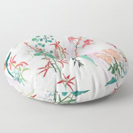Abstract Jungle Floral on Pink and White Floor Pillow