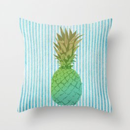 Gold and blue pineapple over blue strips Throw Pillow