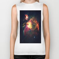 nebula Biker Tanks featuring Orion NEbula Dark & Colorful by 2sweet4words Designs