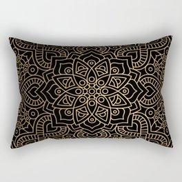 Black Gold Mandala Rectangular Pillow