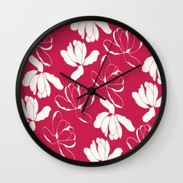 Red and white Flowers Wall Clock