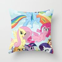 my little pony Throw Pillows featuring My Little pony by Paul Abstruse