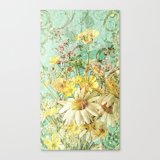Boho Daisies and Buttercups Canvas Print