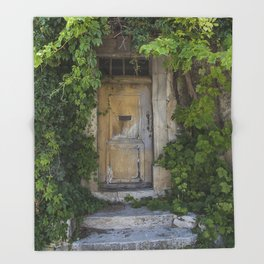 Provence Door covered with green vines Throw Blanket