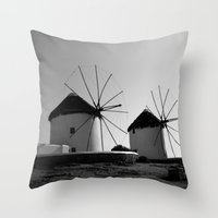 regina mills Throw Pillows featuring Wind mills by Regina Trifeau