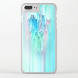 Rainbow Cascade Glitch Clear iPhone Case
