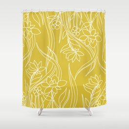 Floral Drawing in Yellow Shower Curtain