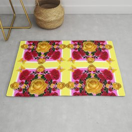 RED-YELLOW ROSES & YELLOW BUTTERFLIES ART Rug