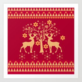 Christmas deer 3 Art Print