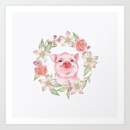 Pig and flowers Art Print