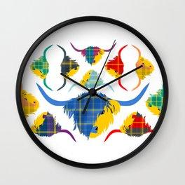 Tartan Hairy Coos Wall Clock