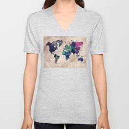 World map watercolor 1 Unisex V-Neck