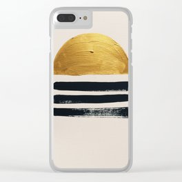Abstract Sunset Ocean View Black and Gold Clear iPhone Case