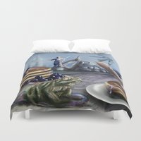 justice Duvet Covers featuring Pancake Justice by Toxic Conscience