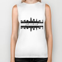 cleveland Biker Tanks featuring Cleveland Skyline by Madison Asher