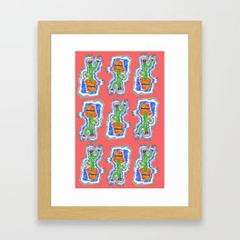 Cactus Party Pattern Framed Art Print