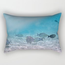 Tropical Maldives Snorkeling Fun Coral Fish In Turquoise Sea Rectangular Pillow