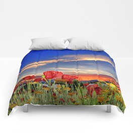 Poppies at sunset Comforters