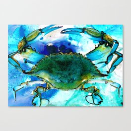 Blue Crab - Abstract Seafood Painting Canvas Print