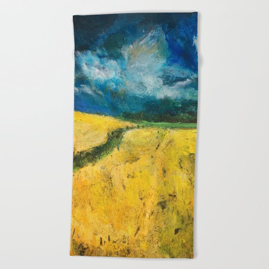 Yellow Fields Beach Towel