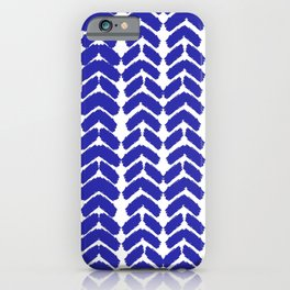 Hand-Drawn Herringbone (Navy Blue & White Pattern) iPhone Case