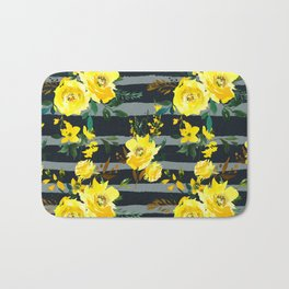 Yellow black gray watercolor modern floral stripes Bath Mat