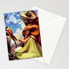 Love and Spanish Guitar under Sonoran Desert Skies by Jesus Helguera Stationery Cards