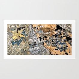 Kuniyoshi Utagawa, The ghost of Taira Tomomori, Daimotsu bay Art Print