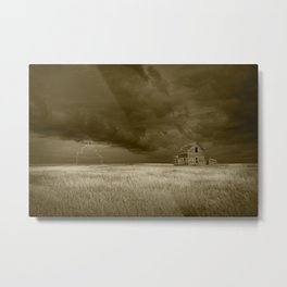 Sepia Tone of Thunderstorm on the Prairie Metal Print