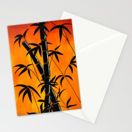 red graphic bamboo silhouette  Stationery Cards