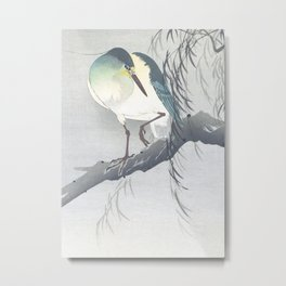 Blue Heron Sitting On A Willow Tree - Vintage Japanese Woodblock Print Art By Ohara Koson Metal Print
