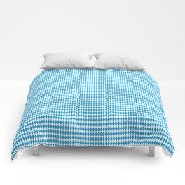 Oktoberfest Bavarian Blue and White Small Diagonal Diamond Pattern Comforters