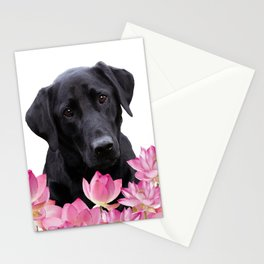 Labrador Retriever in Lotos Flower Field Stationery Cards